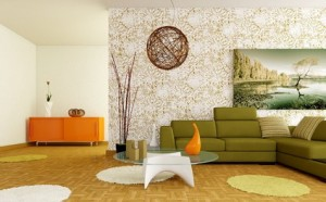 Mountain-Wall-Art-with-Flowers-Wallpaper-in-Modern-Living-Room-Paint-Decorating-Designs-Ideas